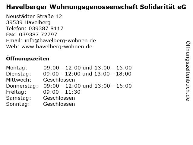 Havelberger Wohnungsgenossenschaft Solidarität eG in Havelberg: Adresse und Öffnungszeiten