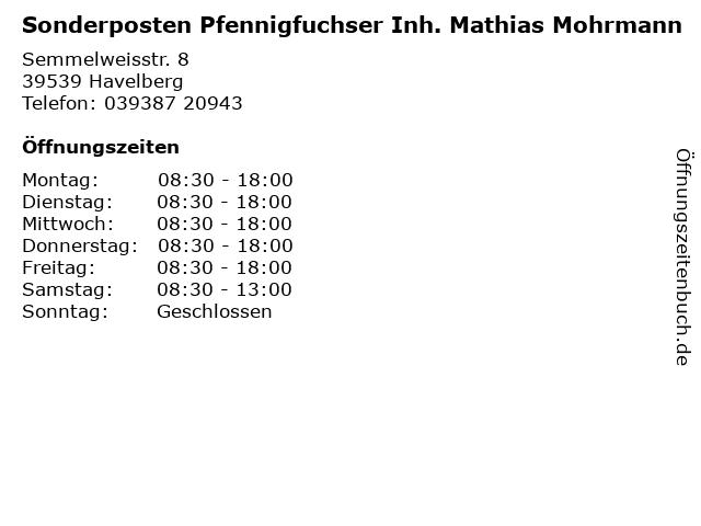 Sonderposten Pfennigfuchser Burghard Lühr in Havelberg: Adresse und Öffnungszeiten