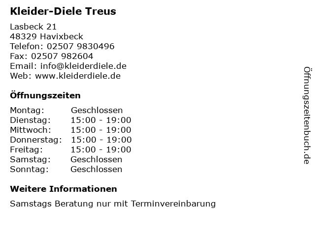 Kleider-Diele Treus in Havixbeck: Adresse und Öffnungszeiten