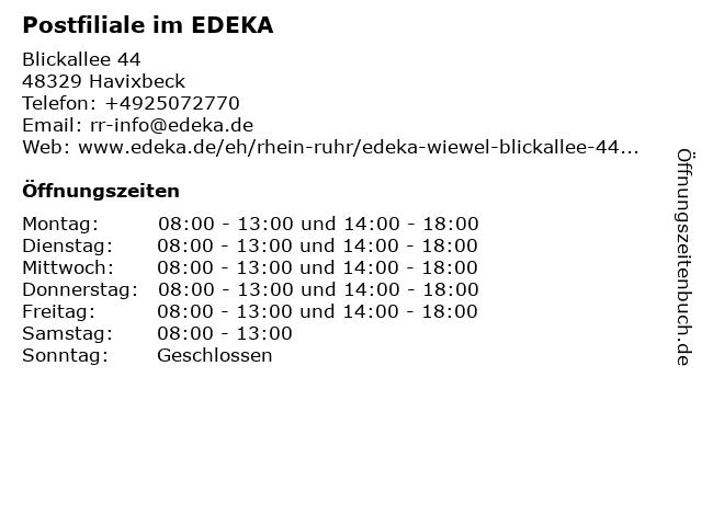 Postfiliale im EDEKA in Havixbeck: Adresse und Öffnungszeiten