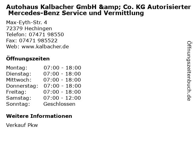 Autohaus Kalbacher GmbH & Co. KG Autorisierter Mercedes-Benz Service und Vermittlung in Hechingen: Adresse und Öffnungszeiten
