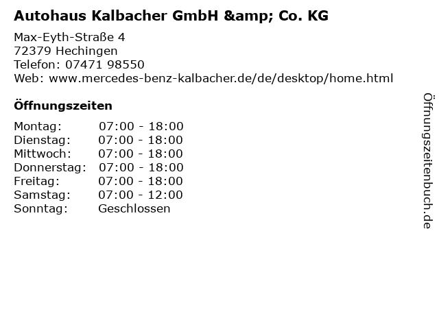 Autohaus Kalbacher GmbH & Co. KG in Hechingen: Adresse und Öffnungszeiten