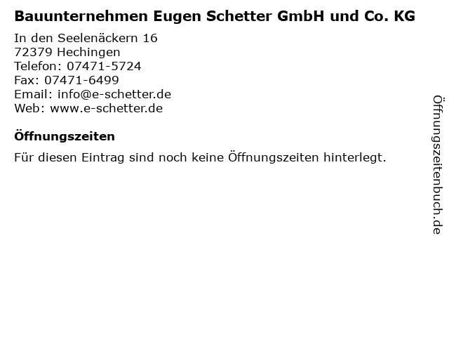Bauunternehmen Eugen Schetter GmbH und Co. KG in Hechingen: Adresse und Öffnungszeiten