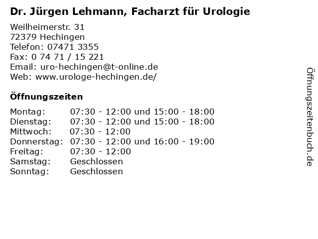 Dr. Jürgen Lehmann, Facharzt für Urologie in Hechingen: Adresse und Öffnungszeiten