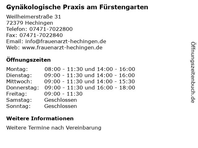 Gynäkologische Praxis am Fürstengarten in Hechingen: Adresse und Öffnungszeiten