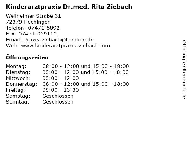 Kinderarztpraxis Dr.med. Rita Ziebach in Hechingen: Adresse und Öffnungszeiten
