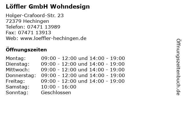 ᐅ öffnungszeiten Löffler Gmbh Wohndesign Holger Crafoord Str