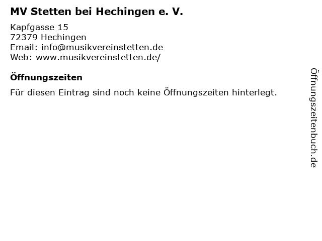 MV Stetten bei Hechingen e. V. in Hechingen: Adresse und Öffnungszeiten