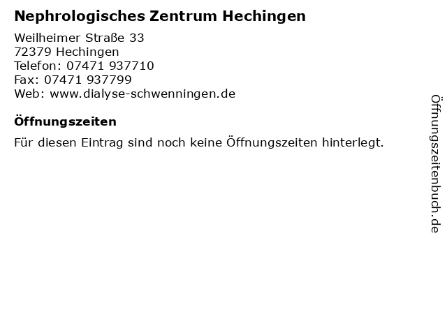 Nephrologisches Zentrum Hechingen in Hechingen: Adresse und Öffnungszeiten