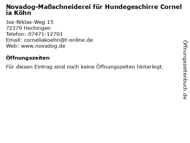Novadog-Maßschneiderei für Hundegeschirre Cornelia Köhn in Hechingen: Adresse und Öffnungszeiten