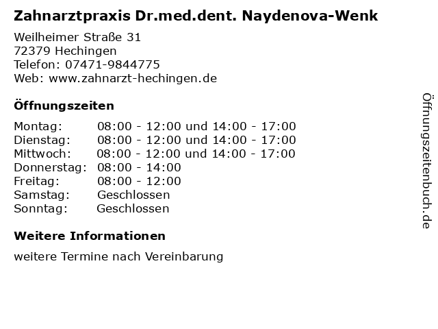 Zahnarztpraxis Dr.med.dent. Naydenova-Wenk in Hechingen: Adresse und Öffnungszeiten
