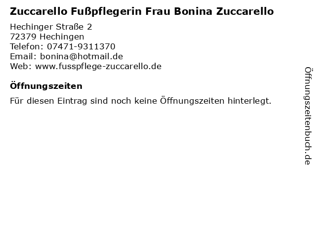 Zuccarello Fußpflegerin Frau Bonina Zuccarello in Hechingen: Adresse und Öffnungszeiten