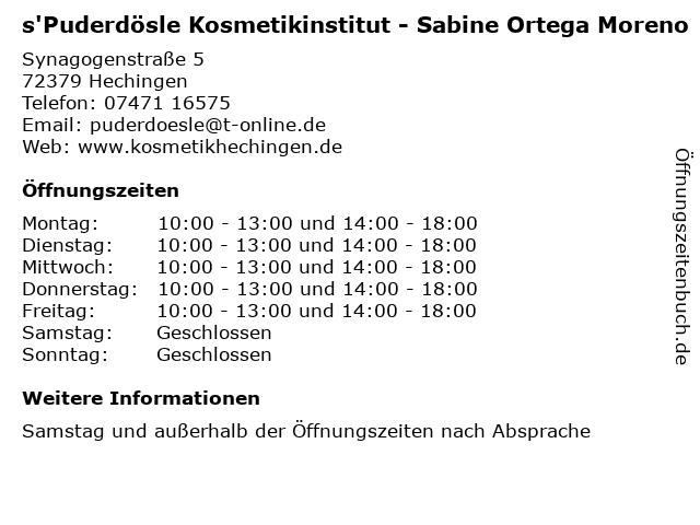 s'Puderdösle Kosmetikinstitut - Sabine Ortega Moreno in Hechingen: Adresse und Öffnungszeiten