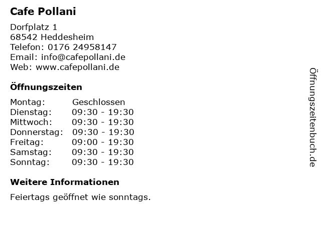 Cafe Pollani in Heddesheim: Adresse und Öffnungszeiten