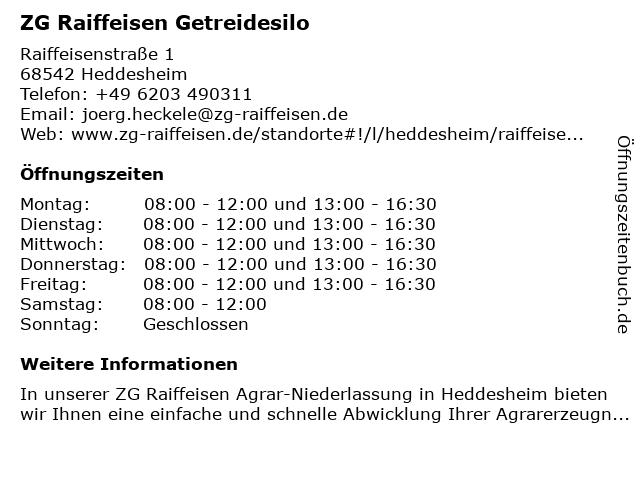 ZG Raiffeisen Getreidesilo in Heddesheim: Adresse und Öffnungszeiten