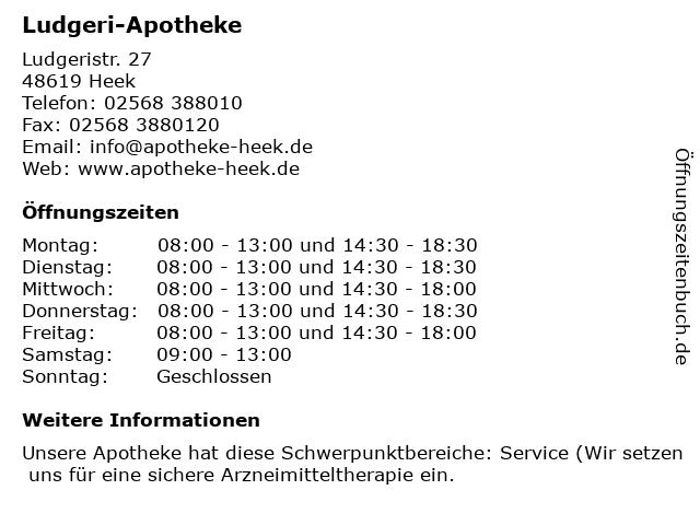 Ludgeri-Apotheke in Heek: Adresse und Öffnungszeiten