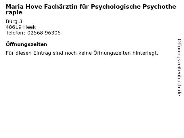 Maria Hove Fachärztin für Psychologische Psychotherapie in Heek: Adresse und Öffnungszeiten