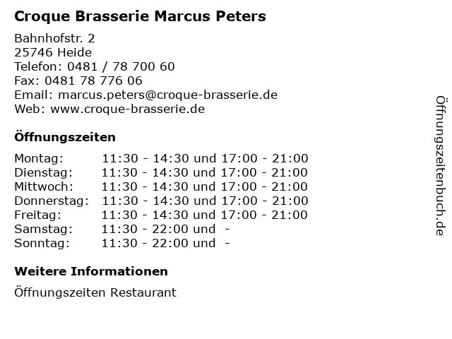 Croque Brasserie Marcus Peters in Heide: Adresse und Öffnungszeiten