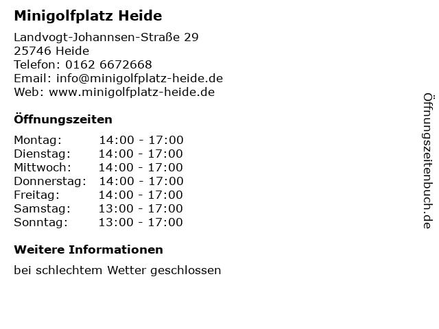Minigolfplatz Heide in Heide: Adresse und Öffnungszeiten