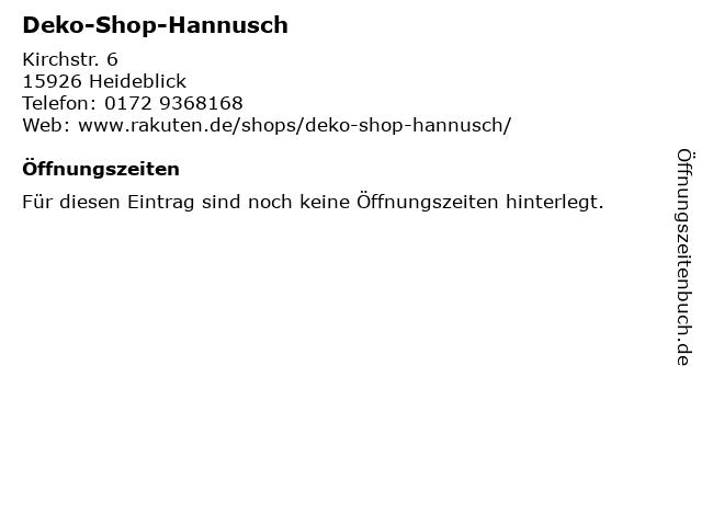 ᐅ öffnungszeiten Deko Shop Hannusch Kirchstr 6 In Heideblick