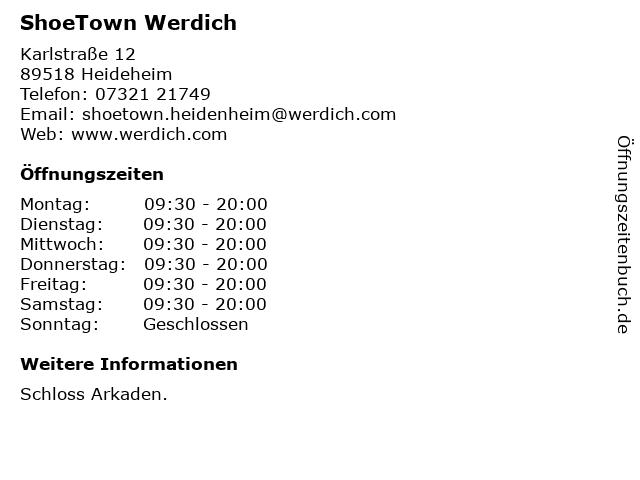 ShoeTown Werdich in Heideheim: Adresse und Öffnungszeiten