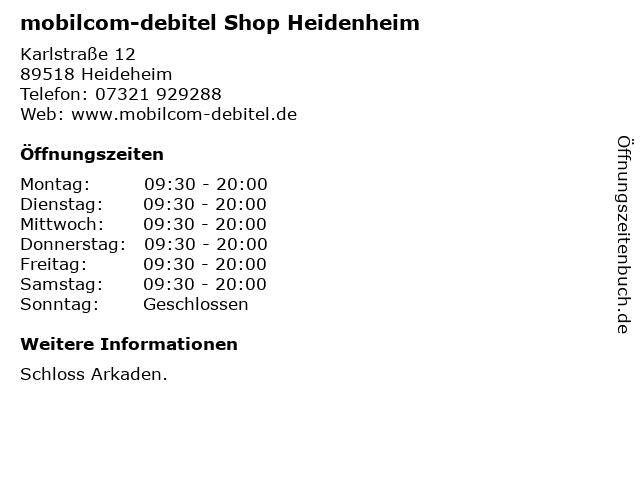 mobilcom-debitel Shop Heidenheim in Heideheim: Adresse und Öffnungszeiten
