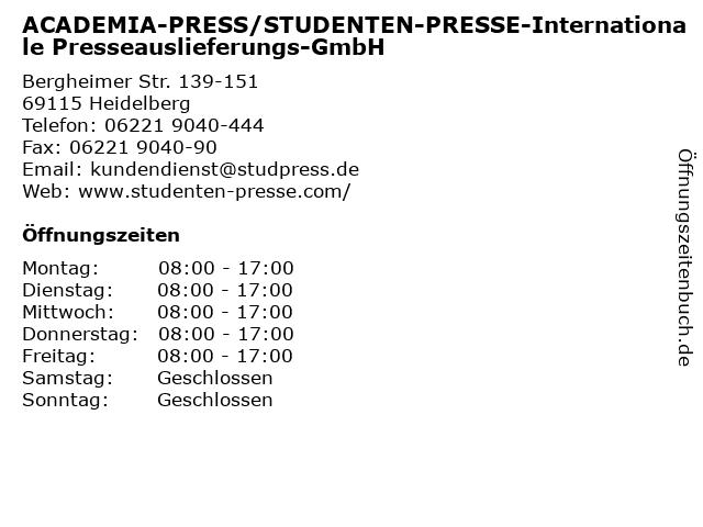 ACADEMIA-PRESS/STUDENTEN-PRESSE-Internationale Presseauslieferungs-GmbH in Heidelberg: Adresse und Öffnungszeiten