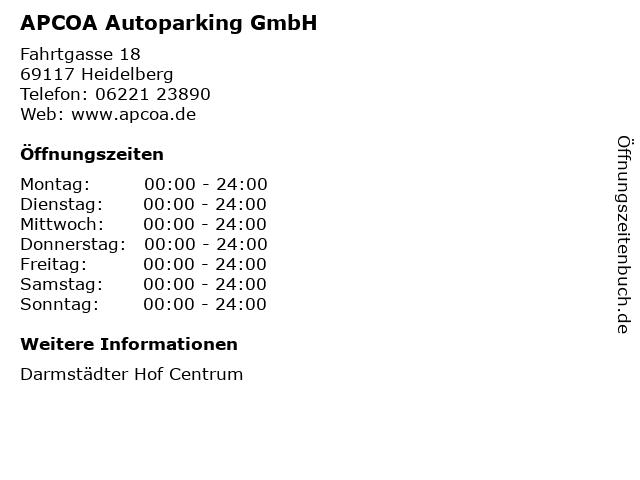 APCOA Autoparking GmbH in Heidelberg: Adresse und Öffnungszeiten