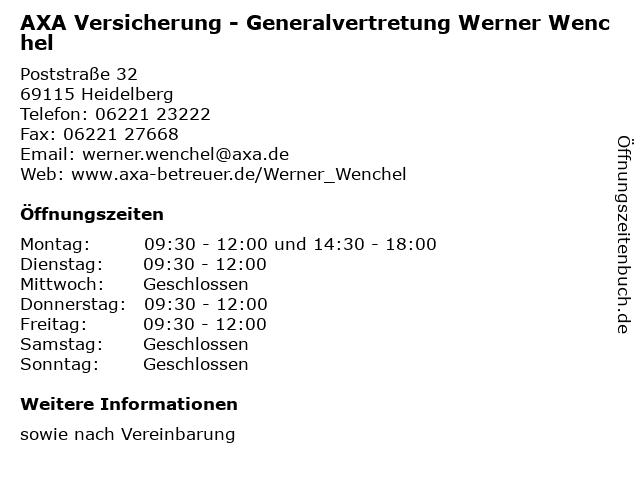 AXA Versicherung - Generalvertretung Werner Wenchel in Heidelberg: Adresse und Öffnungszeiten