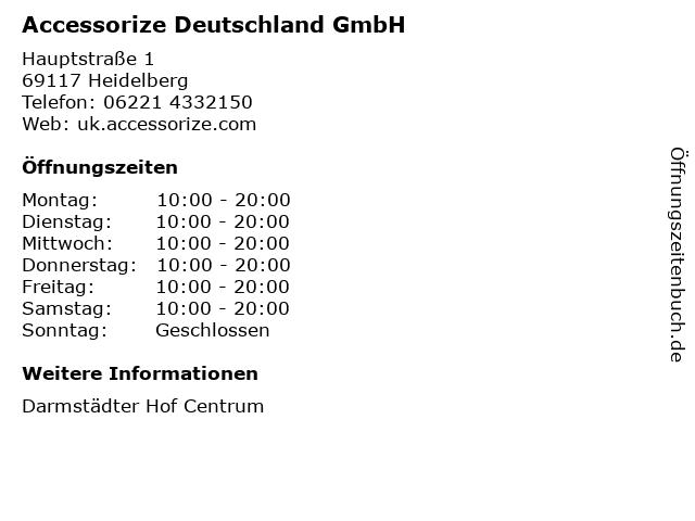 Accessorize Deutschland GmbH in Heidelberg: Adresse und Öffnungszeiten