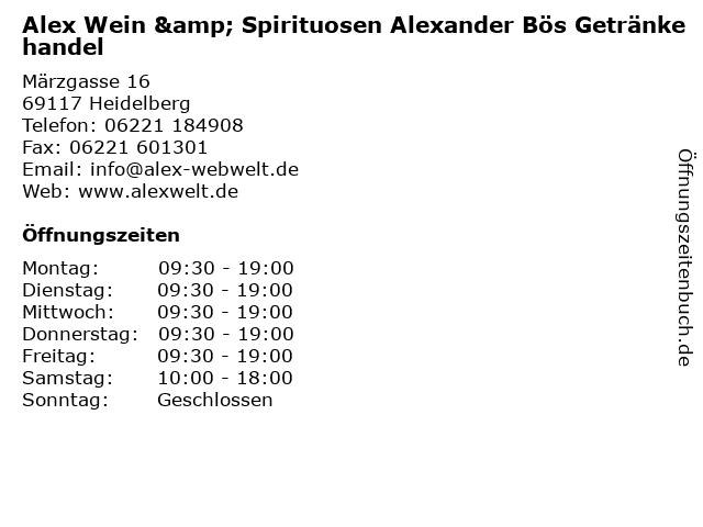 Alex Wein & Spirituosen Alexander Bös Getränkehandel in Heidelberg: Adresse und Öffnungszeiten