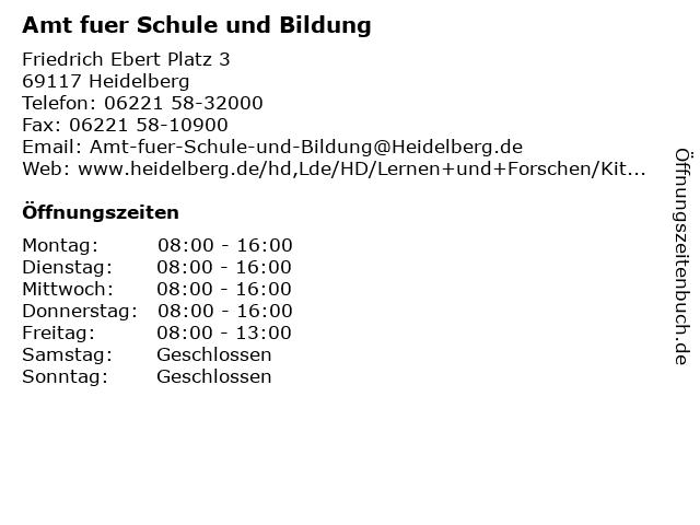 Amt fuer Schule und Bildung in Heidelberg: Adresse und Öffnungszeiten