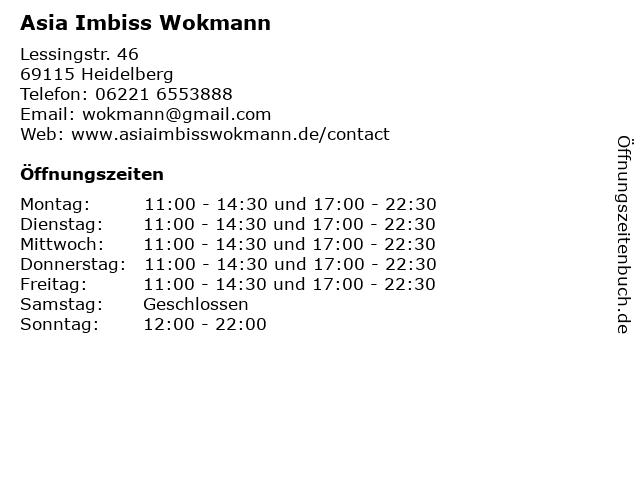 Asia Imbiss Wokmann in Heidelberg: Adresse und Öffnungszeiten