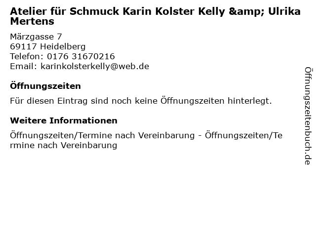 Atelier für Schmuck Karin Kolster Kelly & Ulrika Mertens in Heidelberg: Adresse und Öffnungszeiten