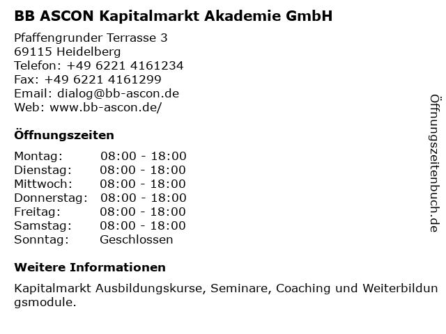 BB ASCON Kapitalmarkt Akademie GmbH in Heidelberg: Adresse und Öffnungszeiten
