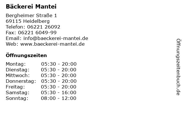 Bäckerei Mantei in Heidelberg: Adresse und Öffnungszeiten