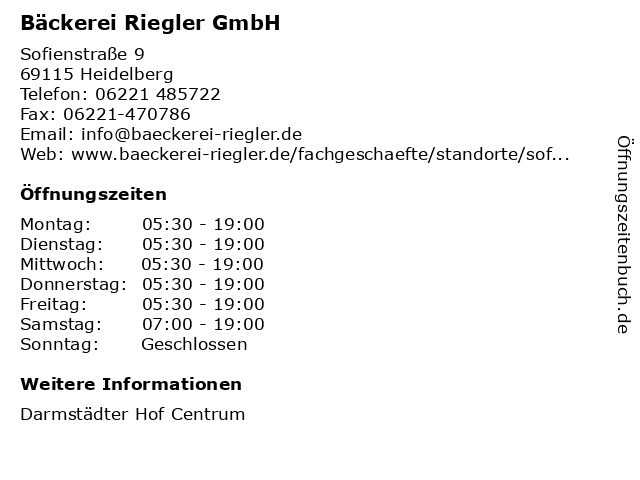 Bäckerei Riegler GmbH in Heidelberg: Adresse und Öffnungszeiten