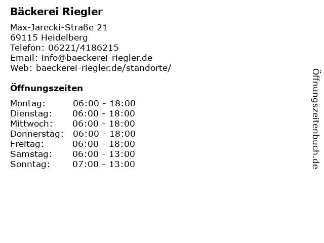 Bäckerei Riegler in Heidelberg: Adresse und Öffnungszeiten