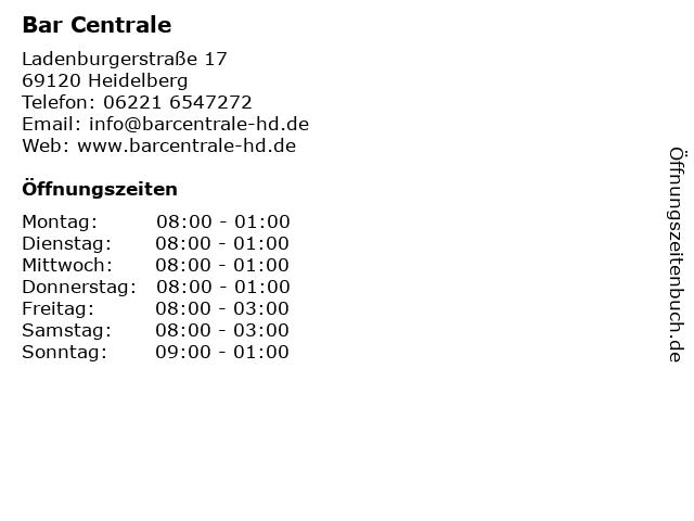Bar Centrale in Heidelberg: Adresse und Öffnungszeiten