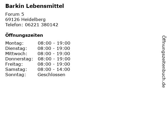 Barkin Lebensmittel in Heidelberg: Adresse und Öffnungszeiten
