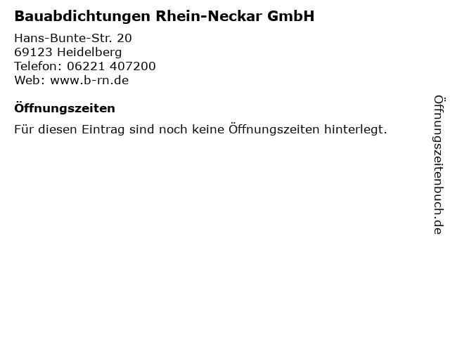 Bauabdichtungen Rhein-Neckar GmbH in Heidelberg: Adresse und Öffnungszeiten