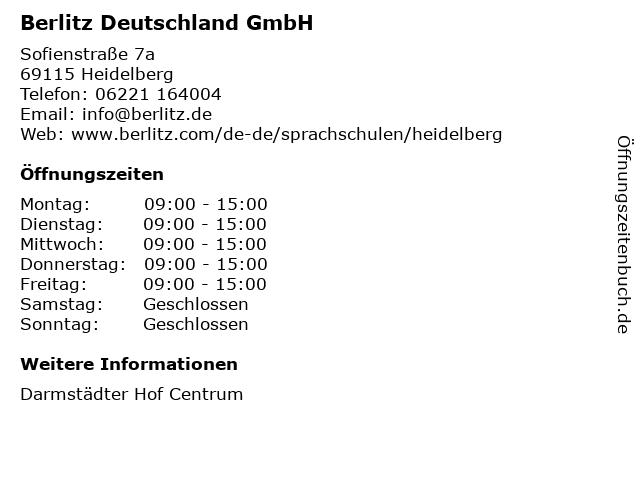 Berlitz Deutschland GmbH in Heidelberg: Adresse und Öffnungszeiten