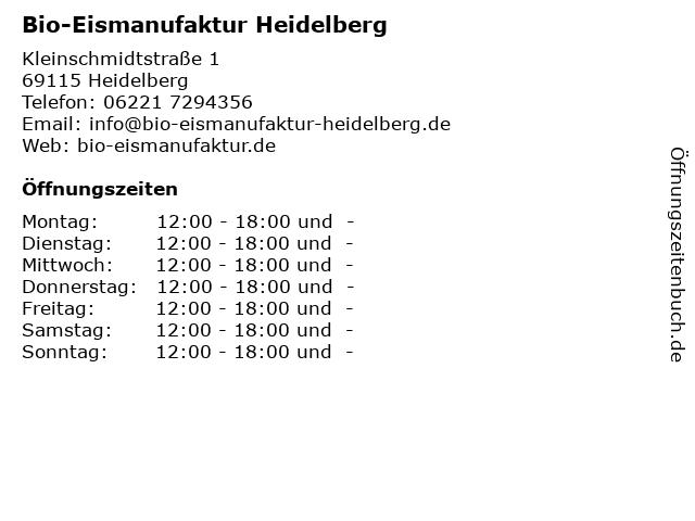 Bio-Eismanufaktur Heidelberg in Heidelberg: Adresse und Öffnungszeiten