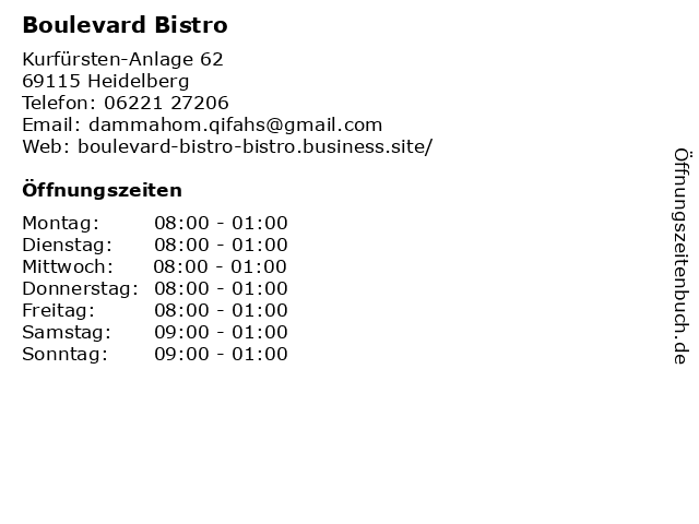 Boulevard Bistro in Heidelberg: Adresse und Öffnungszeiten