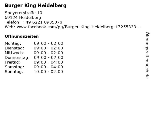Burger King Heidelberg in Heidelberg: Adresse und Öffnungszeiten
