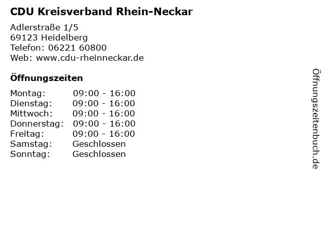 CDU Kreisverband Rhein-Neckar in Heidelberg: Adresse und Öffnungszeiten