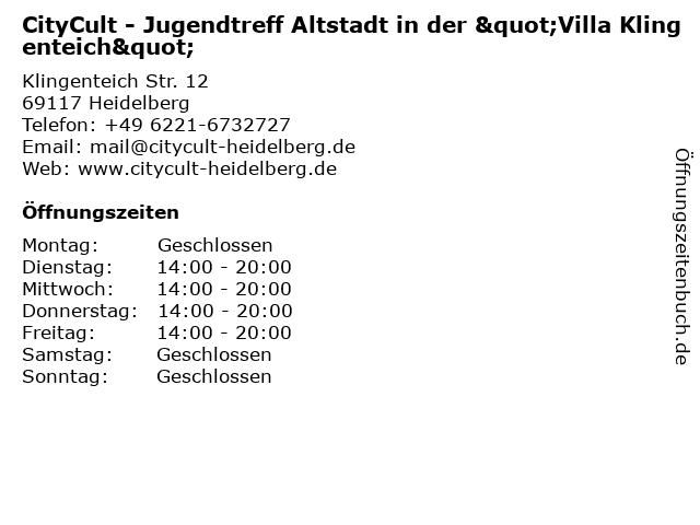 """CityCult - Jugendtreff Altstadt in der """"Villa Klingenteich"""" in Heidelberg: Adresse und Öffnungszeiten"""