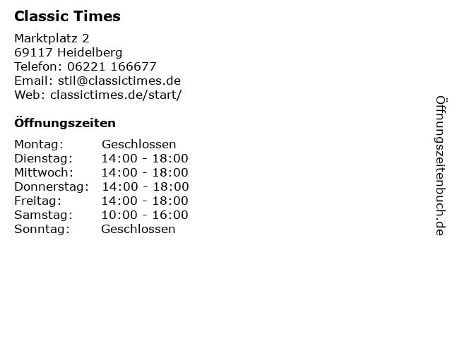 Classic Times in Heidelberg: Adresse und Öffnungszeiten