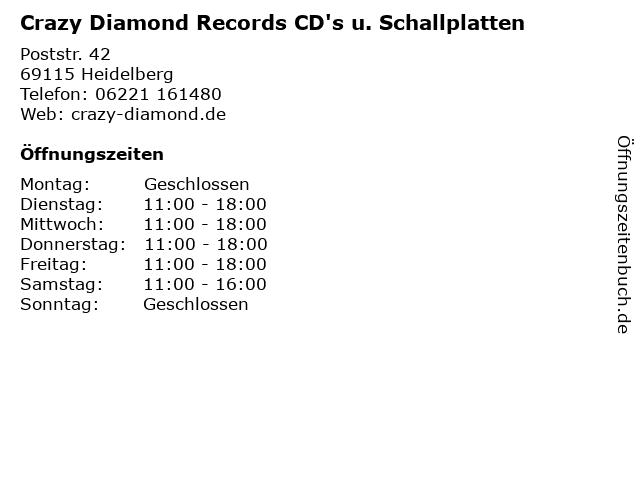 Crazy Diamond Records CD's u. Schallplatten in Heidelberg: Adresse und Öffnungszeiten