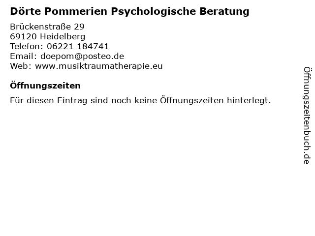Dörte Pommerien Psychologische Beratung in Heidelberg: Adresse und Öffnungszeiten